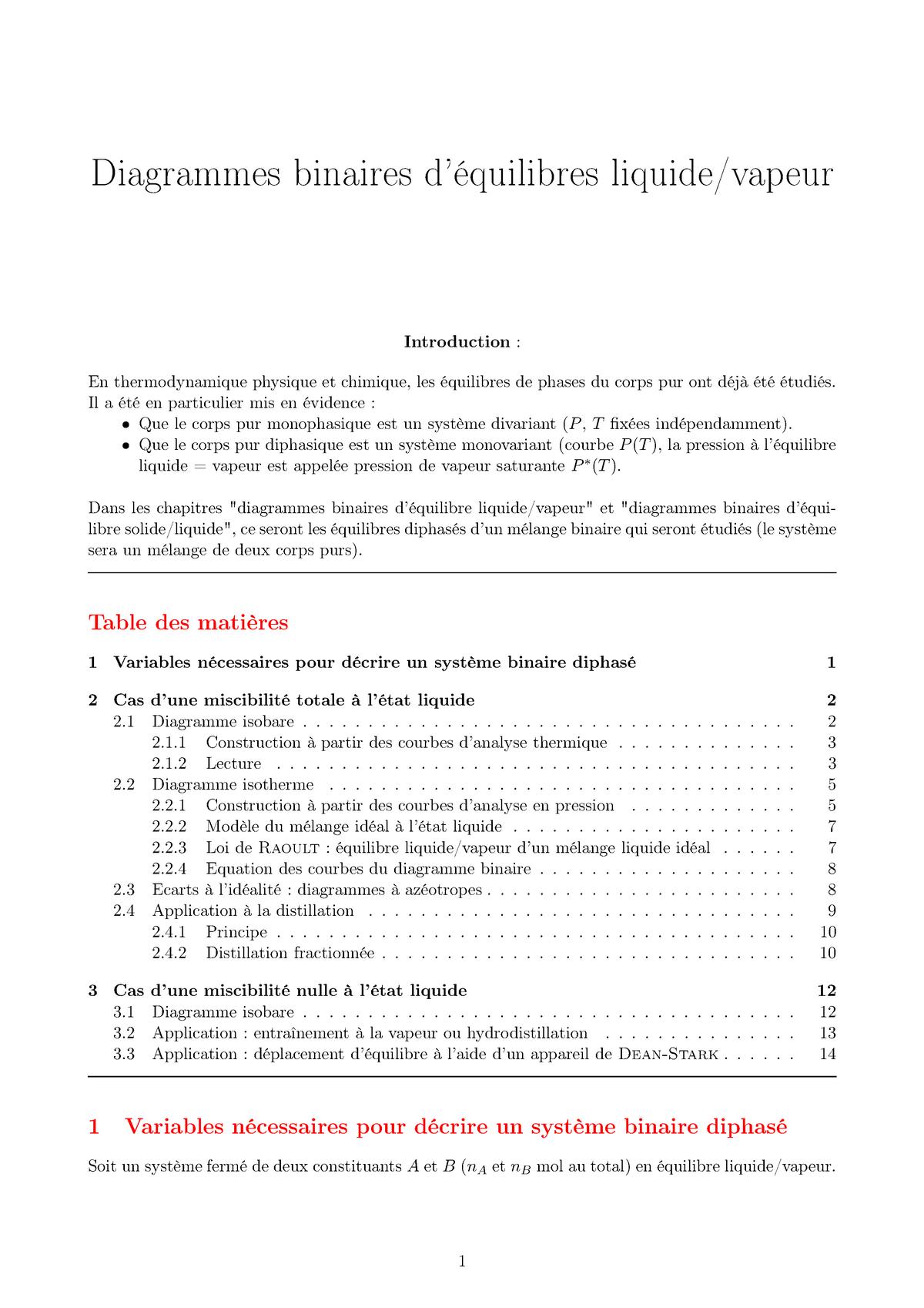 Diagrammes Binaires D U2019 U00e9quilibres Liquide Vapeur - - Unicaen
