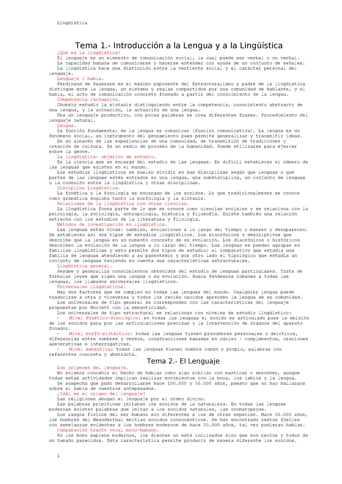 Lingüística Apuntes 1 5 802192 Ucm Studocu