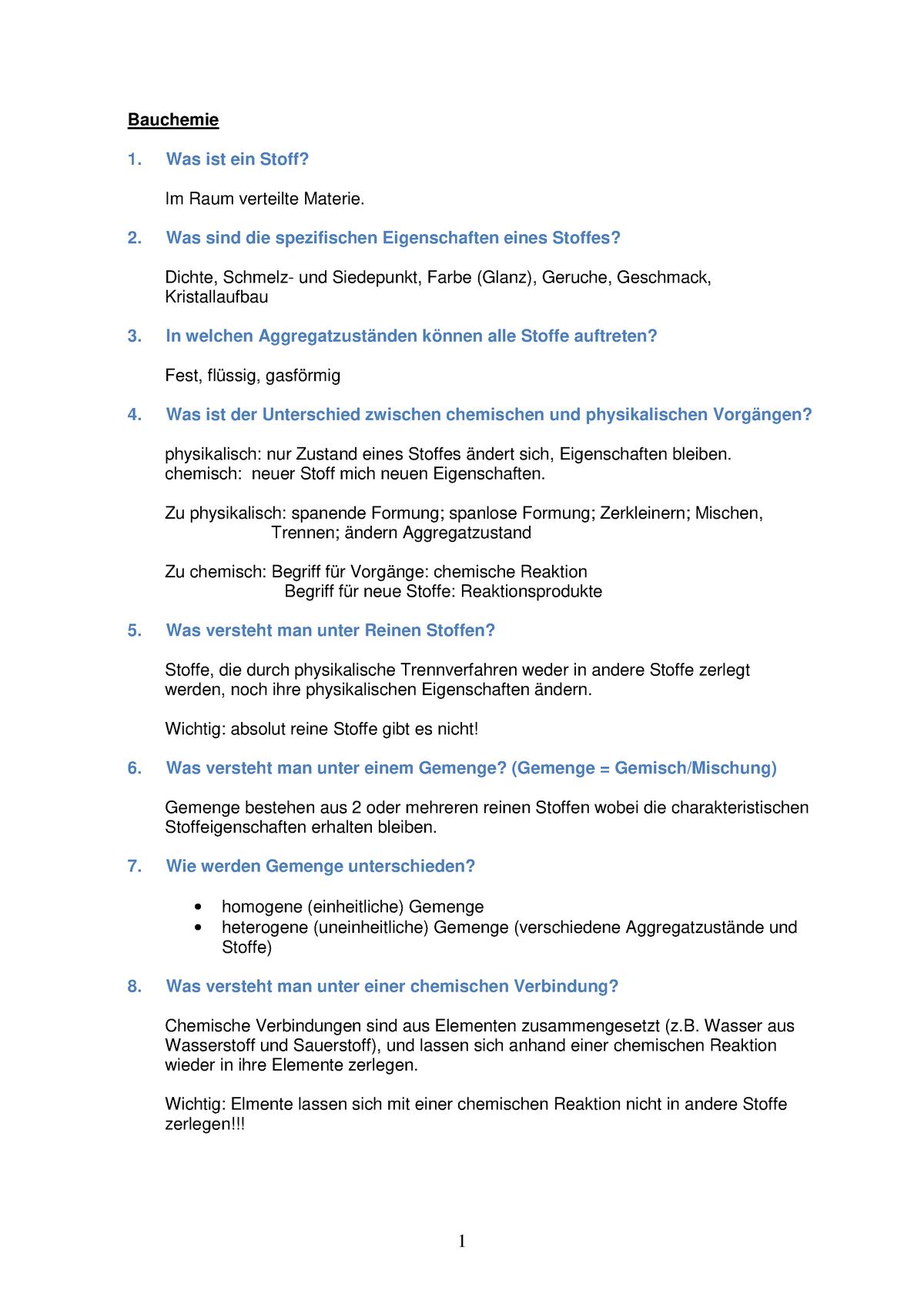 Bauchemie Zusammenfassung Baustofflehre Bsl Th Köln