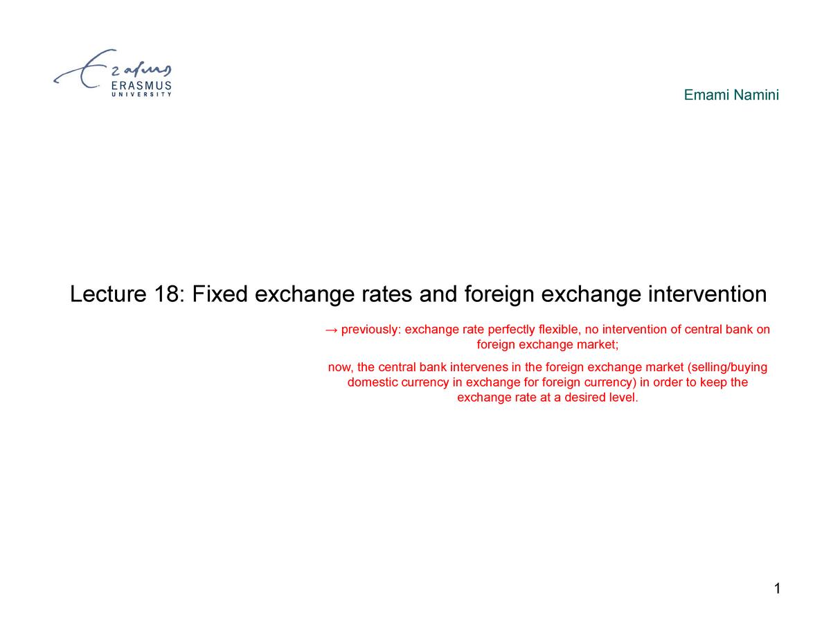 Lecture 18 - Exchange rates and open economy macroeconomics