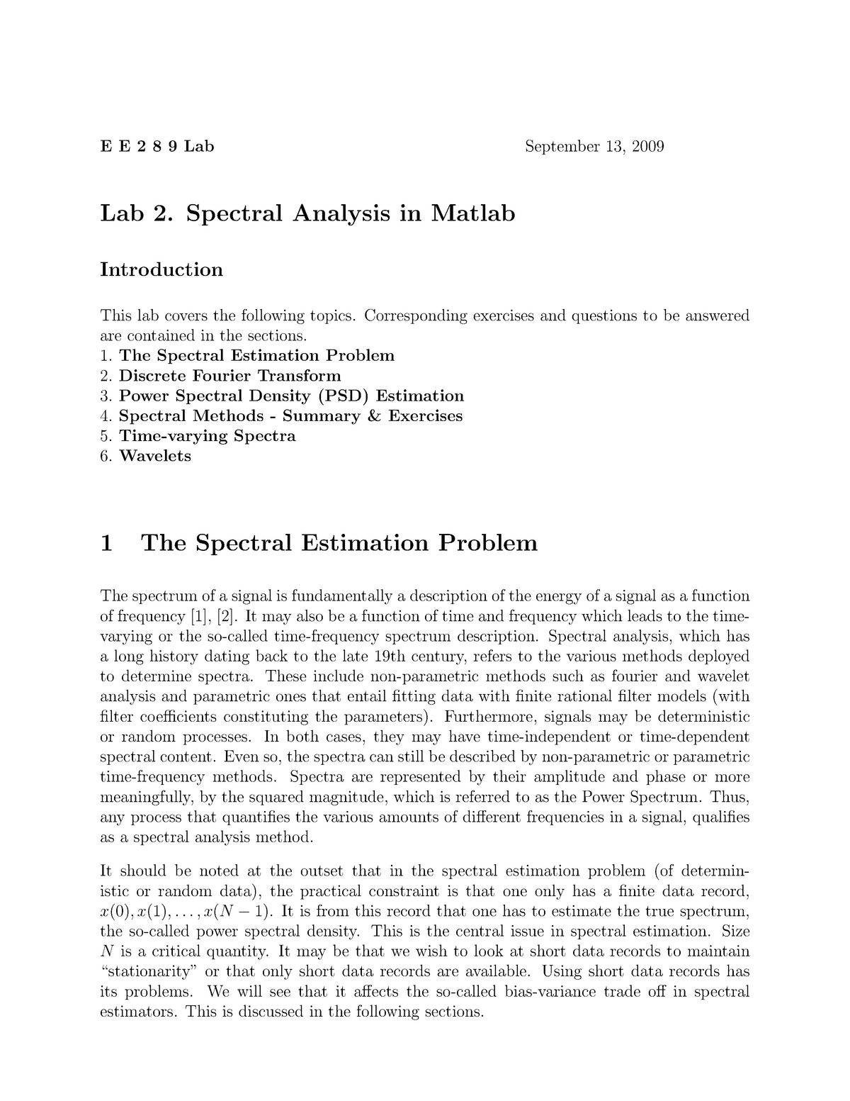 EE289 Sep 2009 Lab 2 - Spectral Analysis in Matlab - EE 289