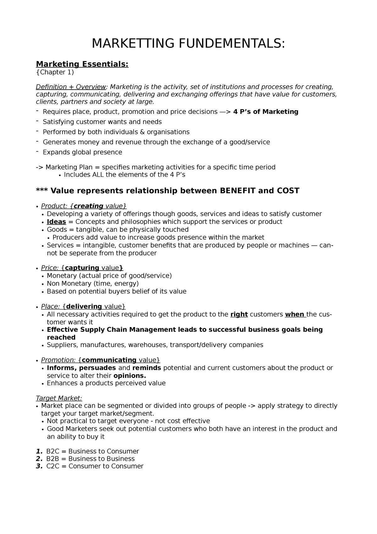Marketting Fundementals - MARK1012: Marketing Fundamentals