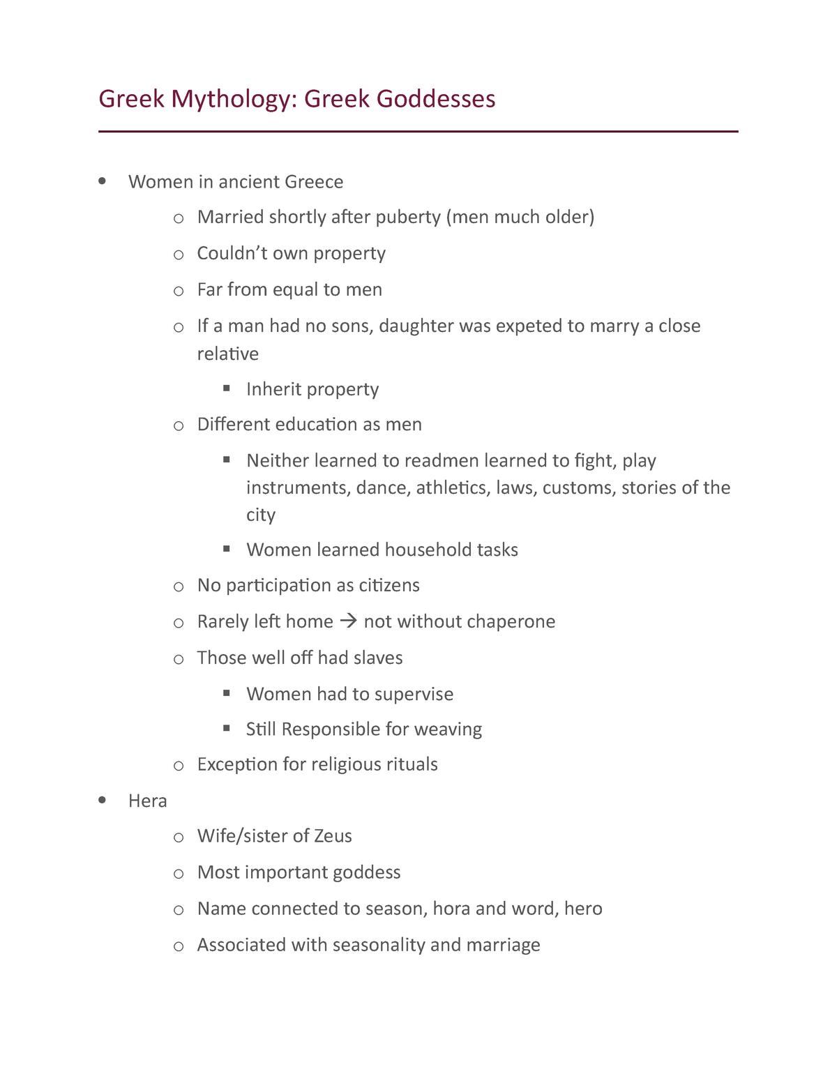 Greek goddesses - CLAS 220: Introduction to Classical Mythology