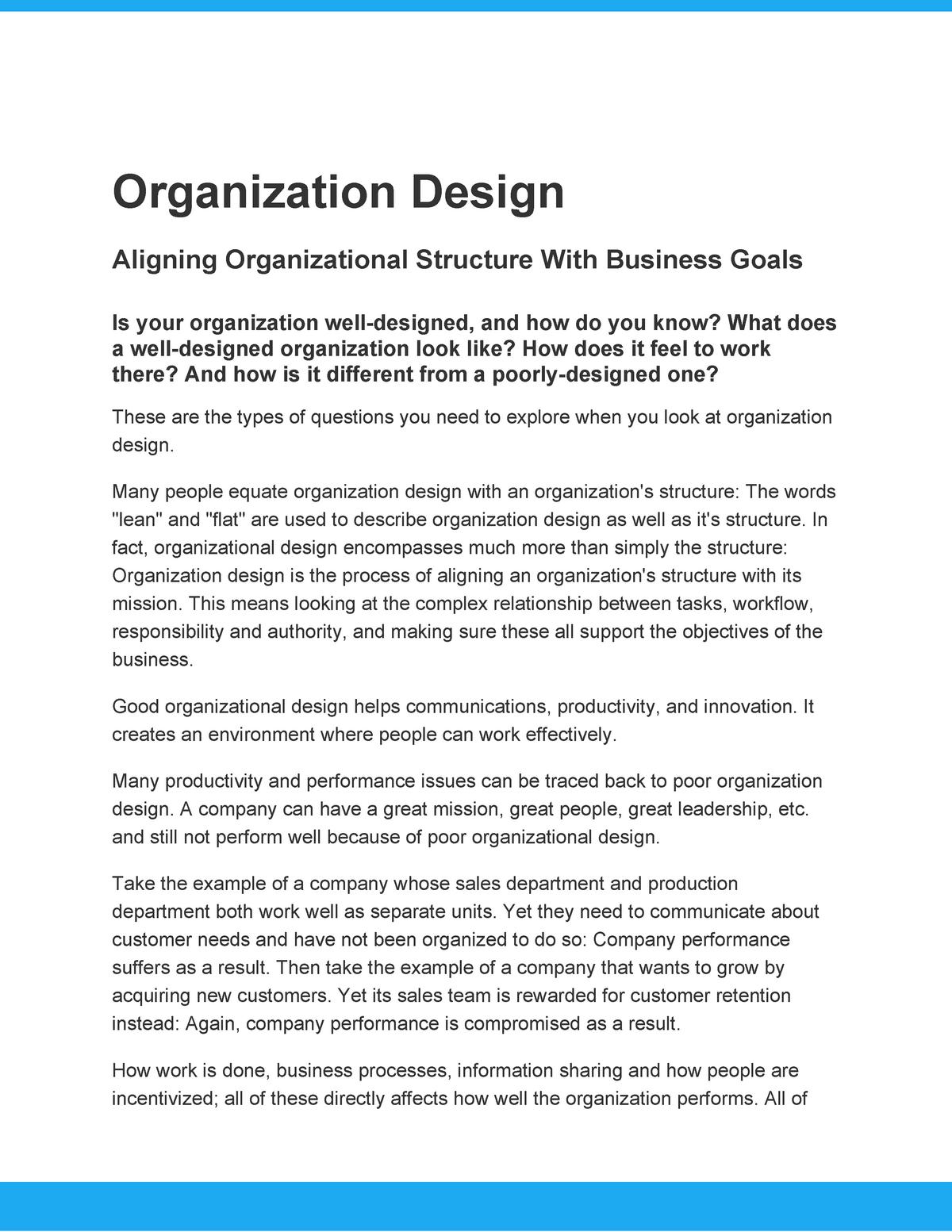 Organizational Design Mba2 1 Studocu