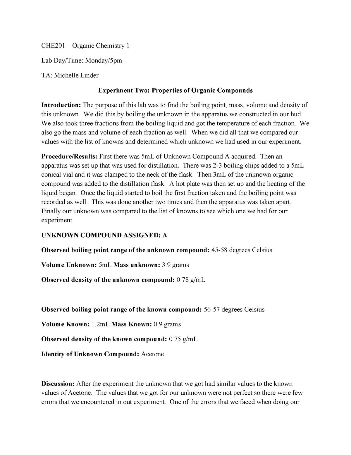 CHE201 Lab Report 2 - CHE 201LBR: Organic Chemistry Lab-Rec - StuDocu