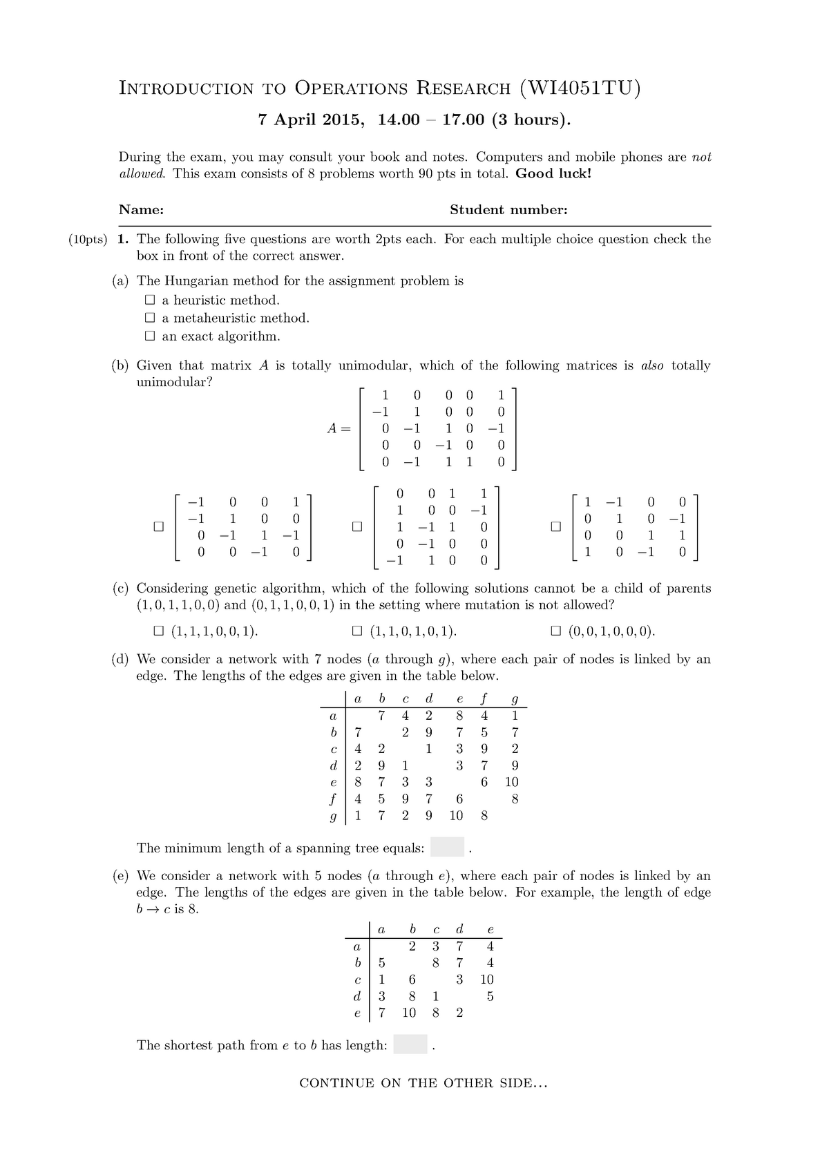 Exam 7 April 2015, questions and answers - WI4051TU