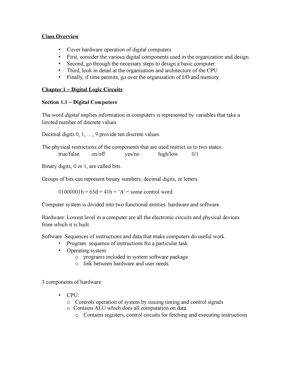 Chap1 Lecture Notes 1 Csc 4210 Computer Architecture Studocu