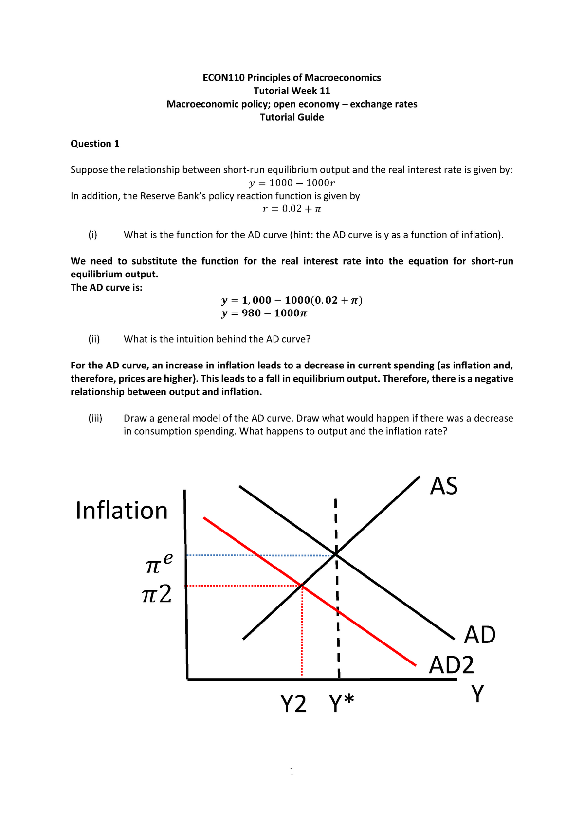 Tutorial Week 11 ECON110 - ECON110: Macroeconomic Principles - StuDocu