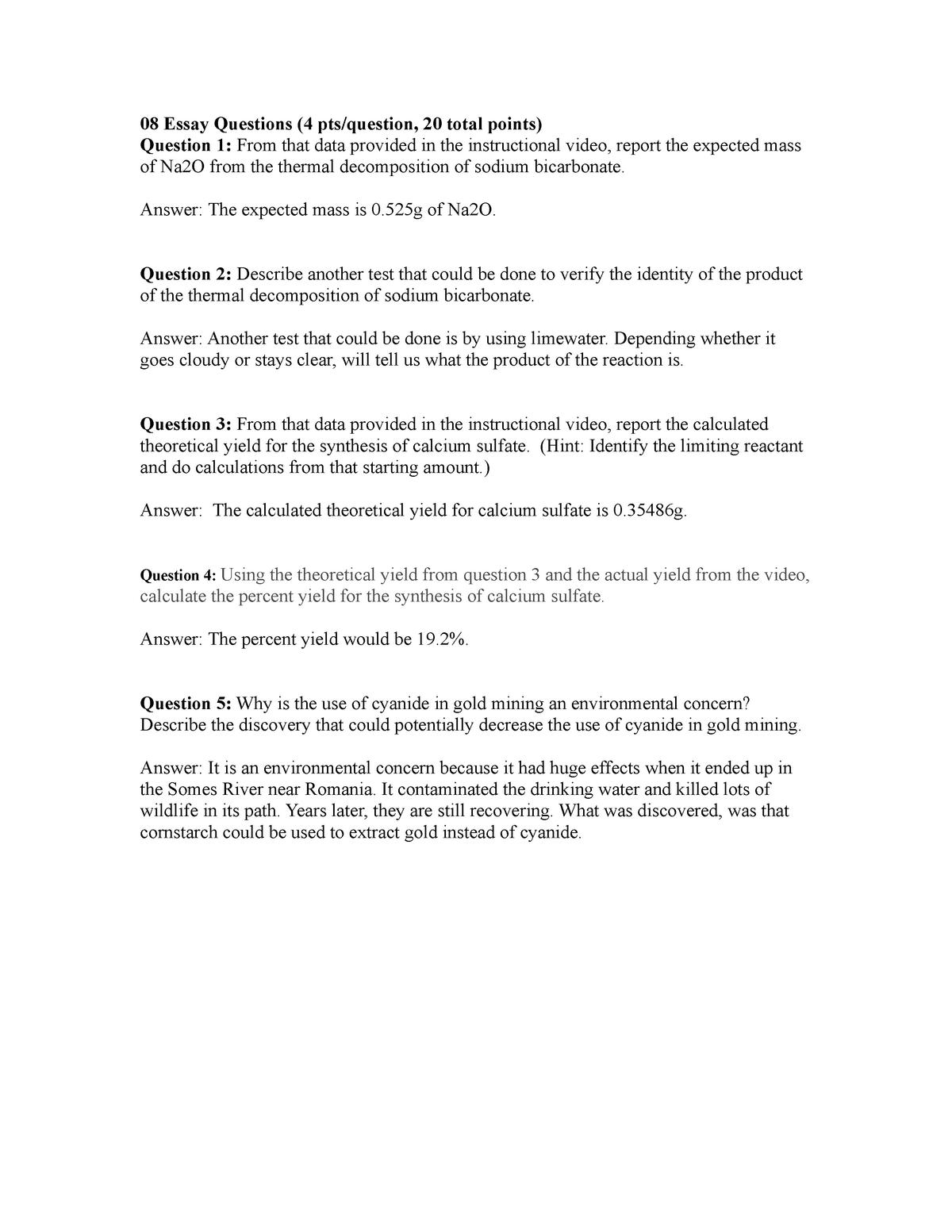 L08 Essay Questions - Grade: B+ - CHEM101L - BYU–Idaho - StuDocu