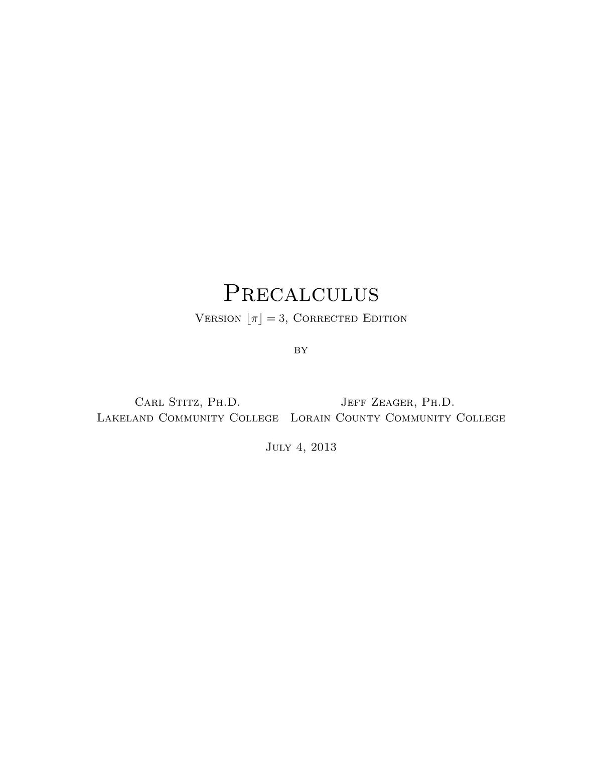 Precalculus version 3 corrected edition (book) - Math 3301