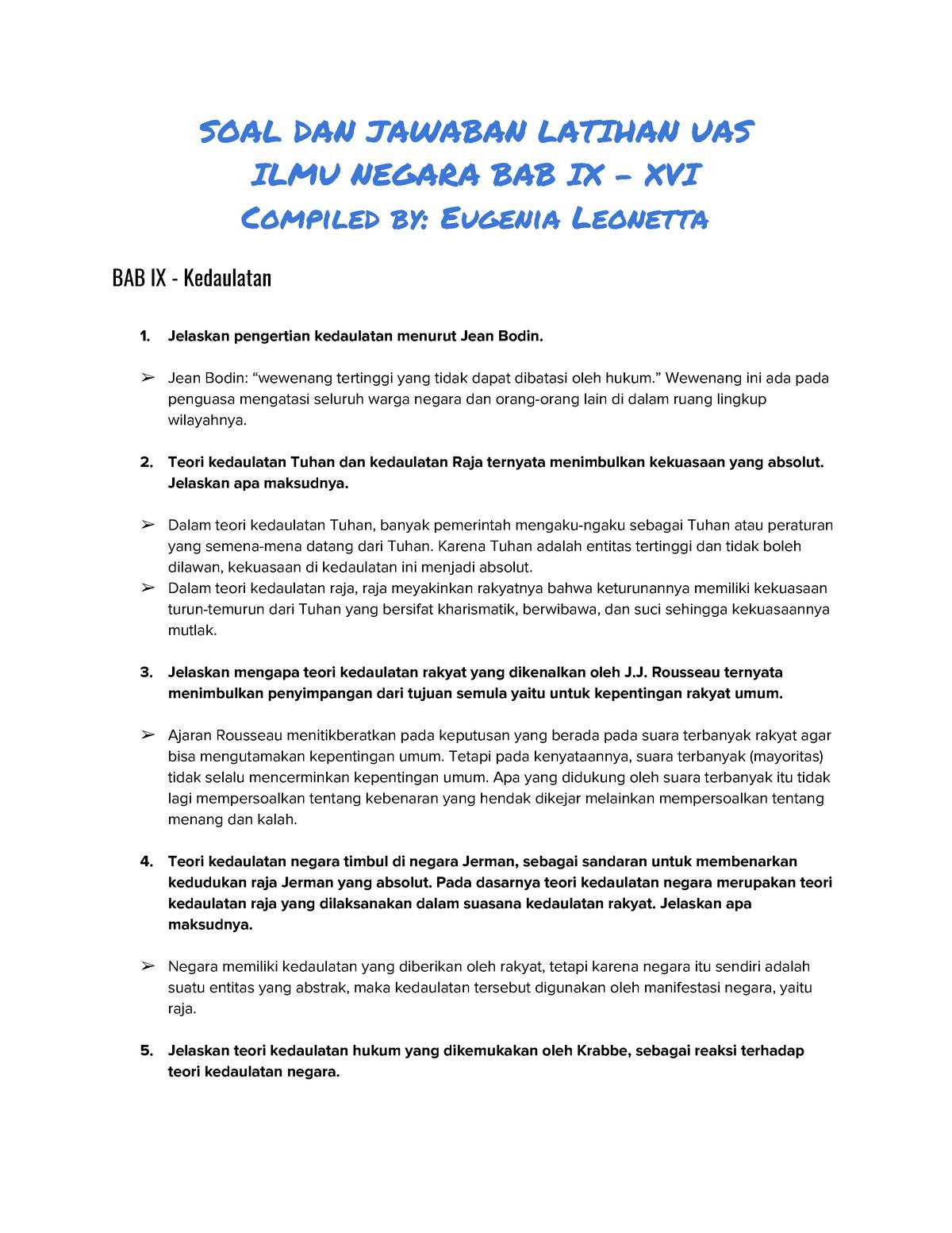 Soal Dan Jawaban Latihan Uas Ilmu Negara Ui Studocu