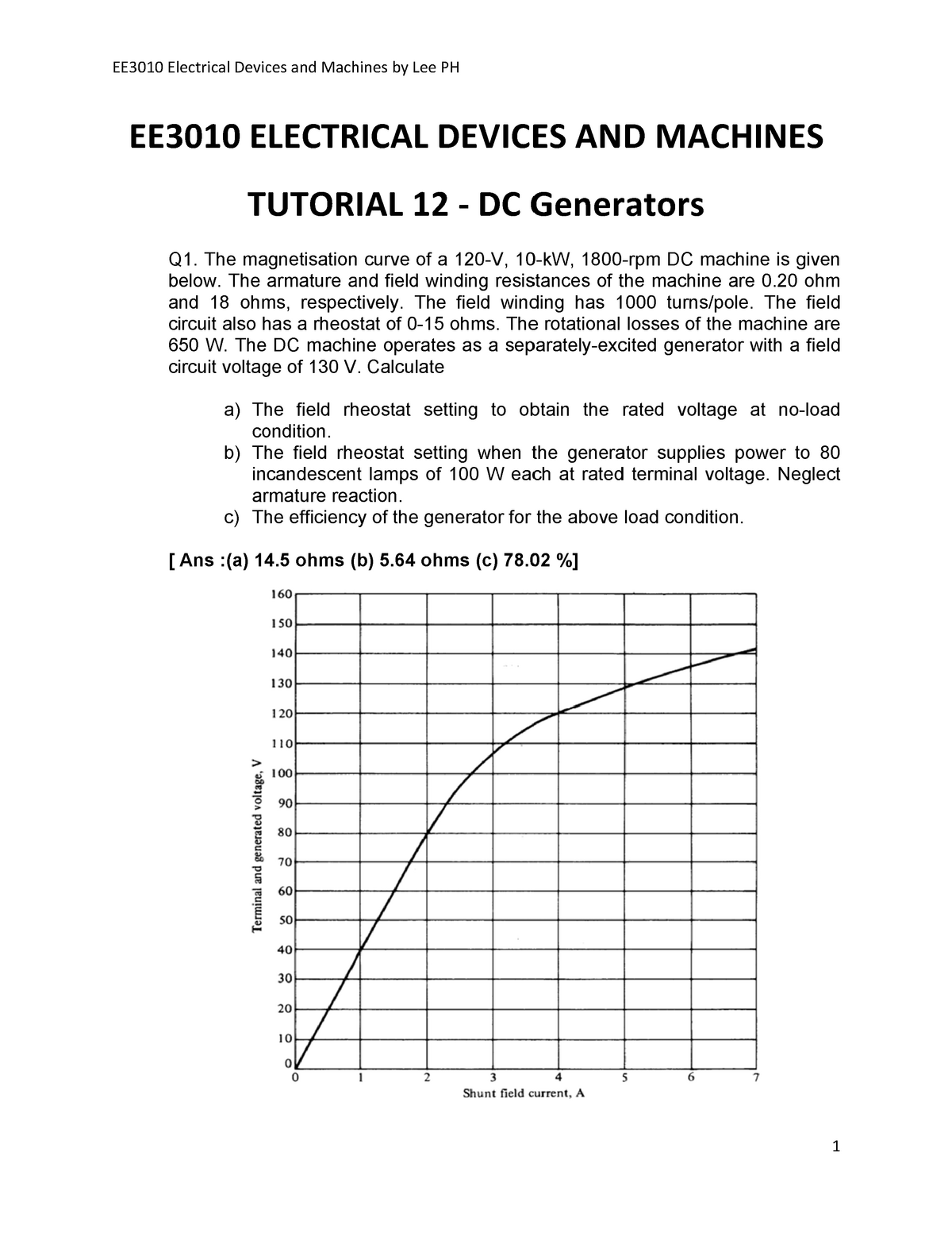 T12 DC Generators - Tutorial - EE3010: Electrical Devices & Machines