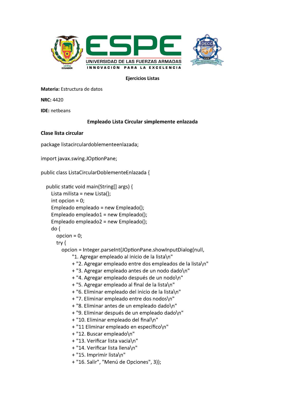 Empleado Lista Circular Simplemente Enlazada Espe Studocu