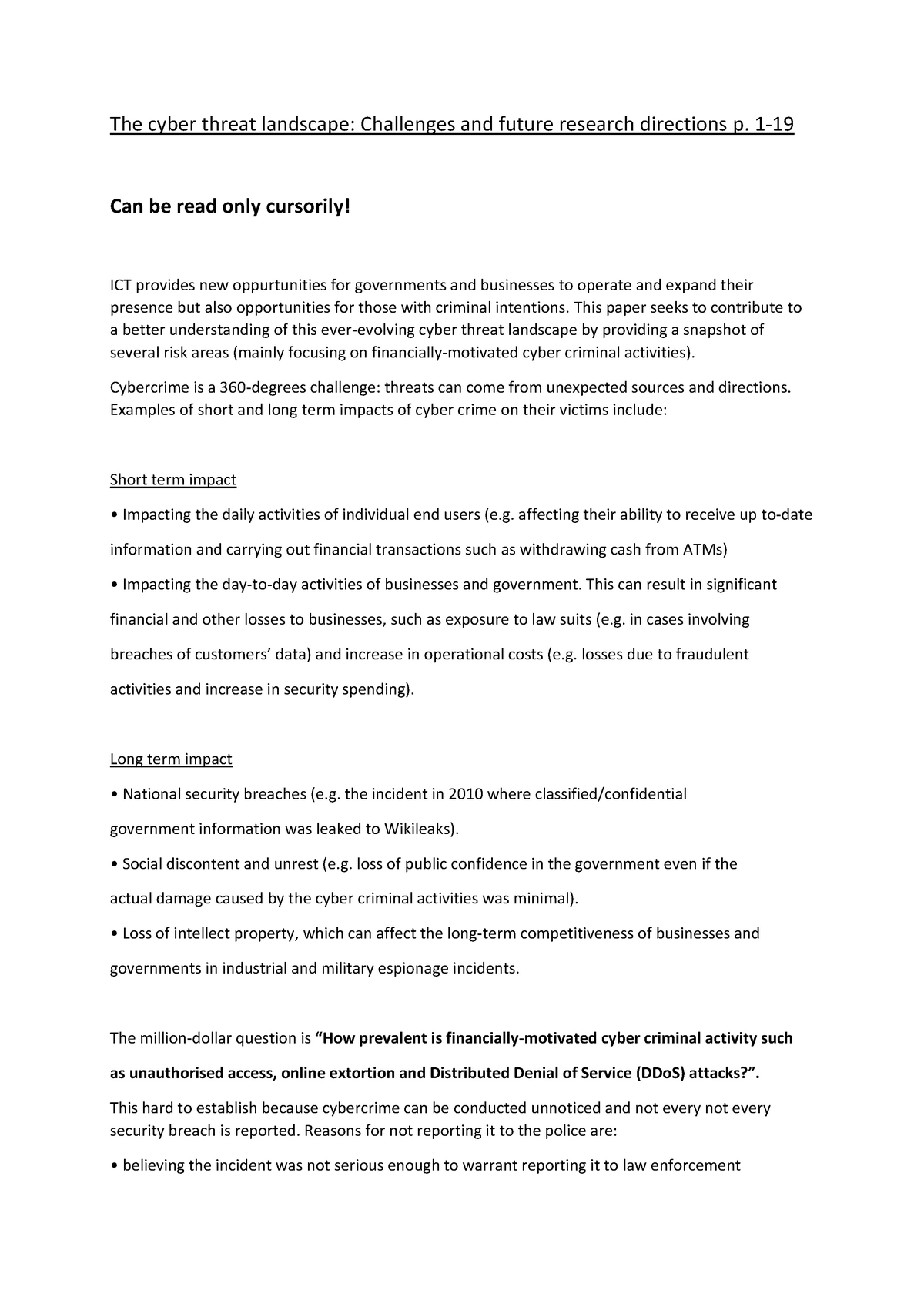 Summary Cybercrime: articles, The cyber threat - StudeerSnel nl
