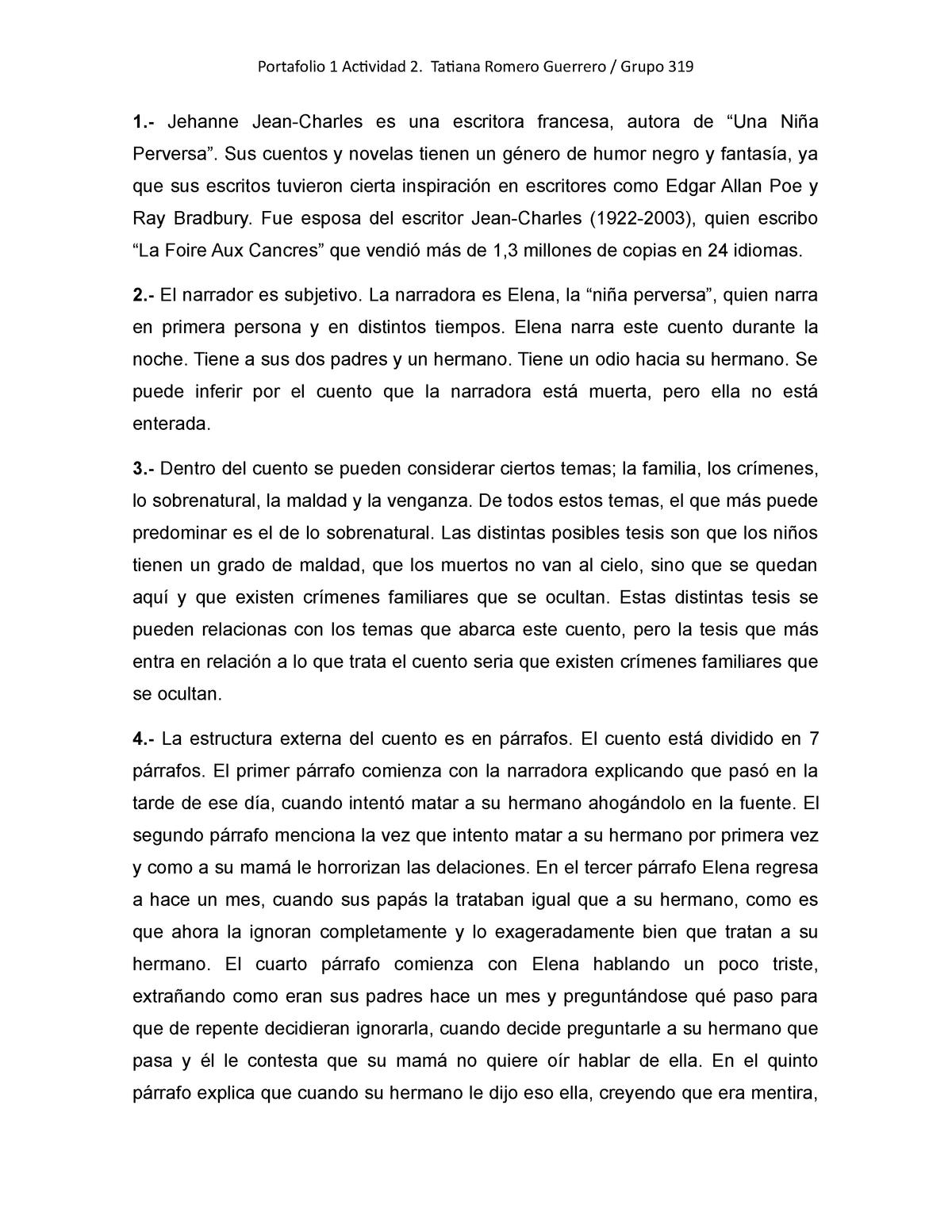 Analisis Una Niña Perversa Apuntes Unidad 1 Studocu