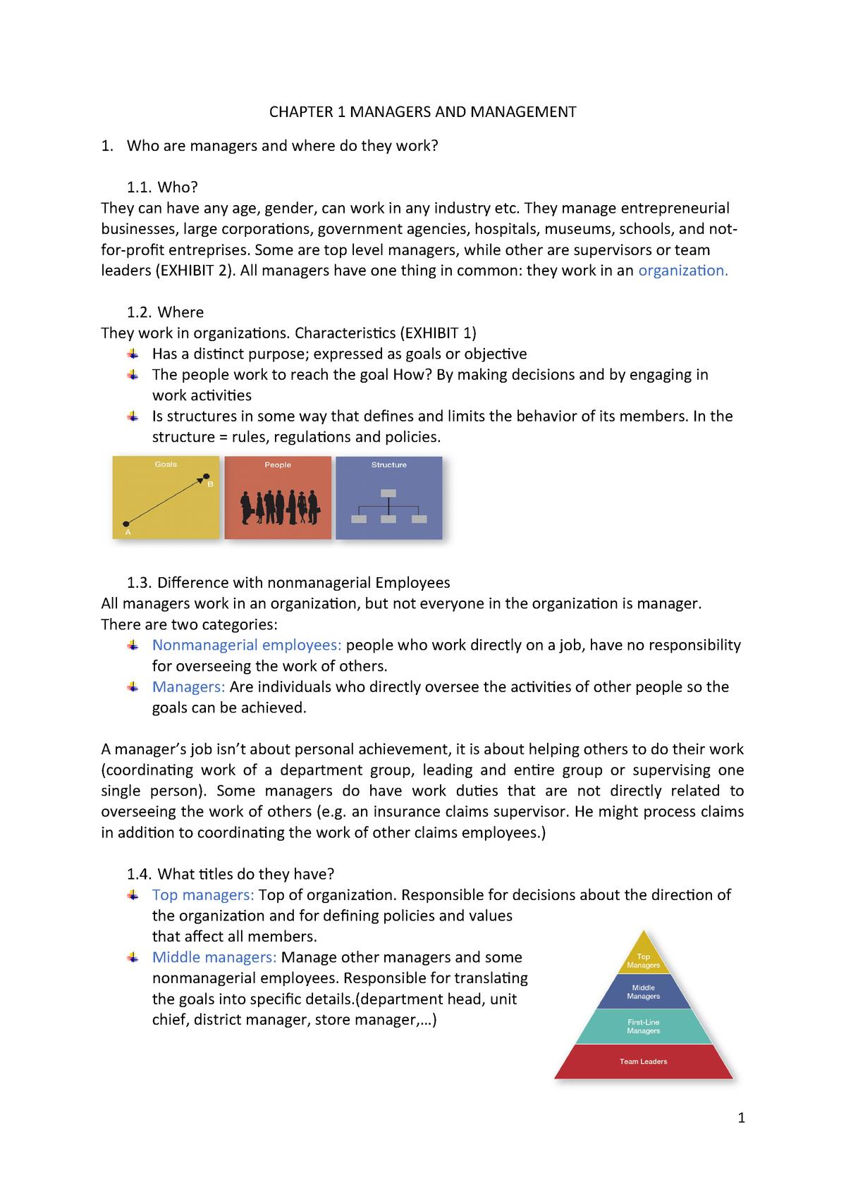Chapter 1 Managers AND Management - - Arteveldehogeschool