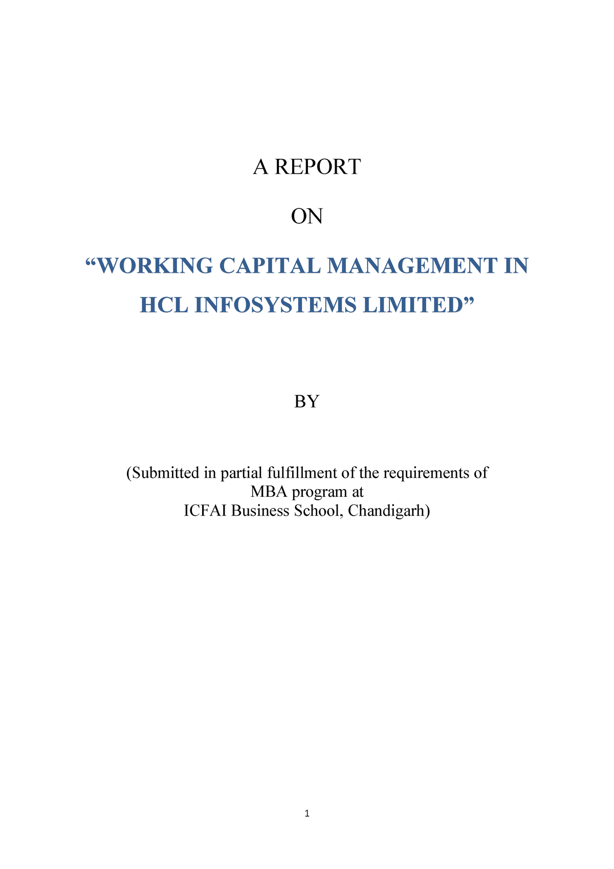 Project Report on working capital management in HCL - MBA: MBA - StuDocu