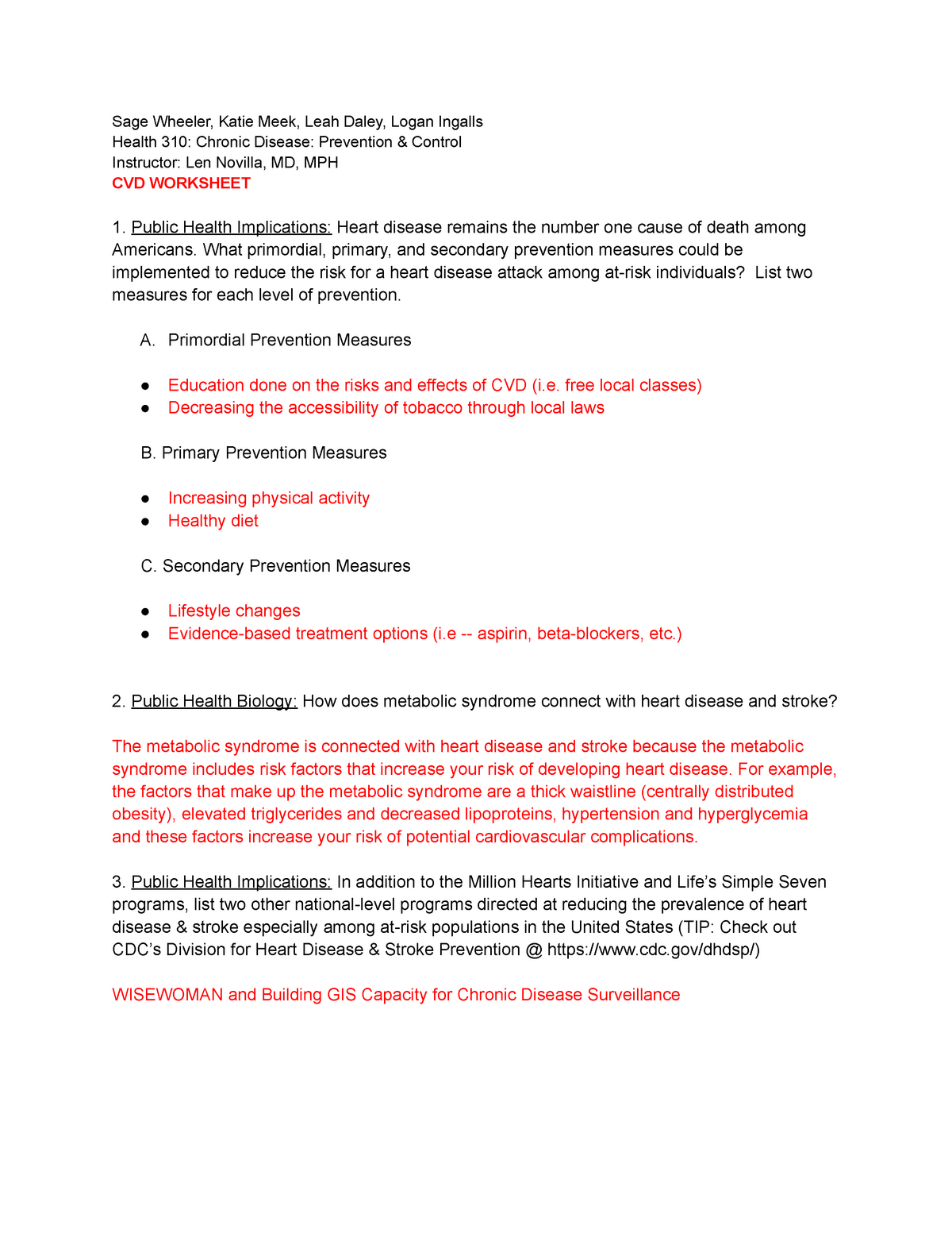 CVD worksheet - Lecture notes on cardiovascular disease