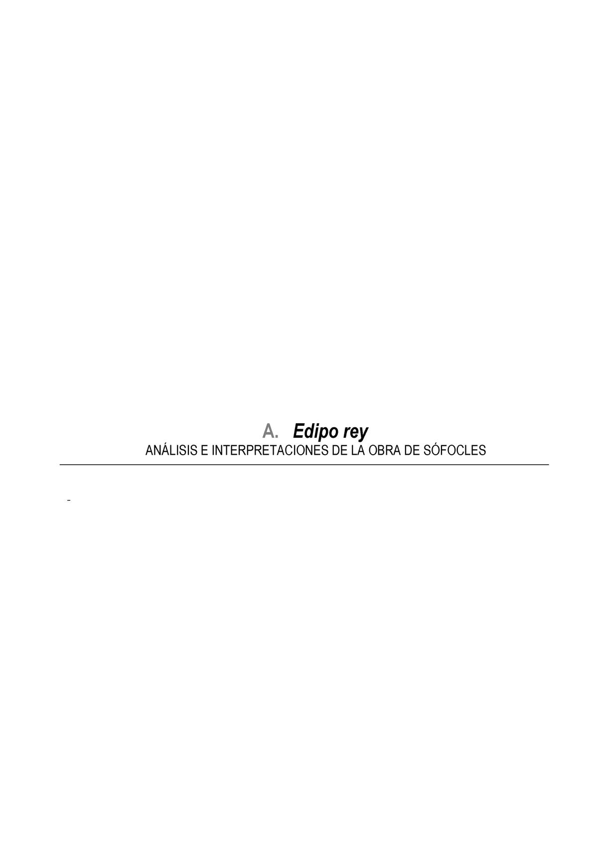 Análisis De La Obra De Sófocles Edipo Rey Estética 107618