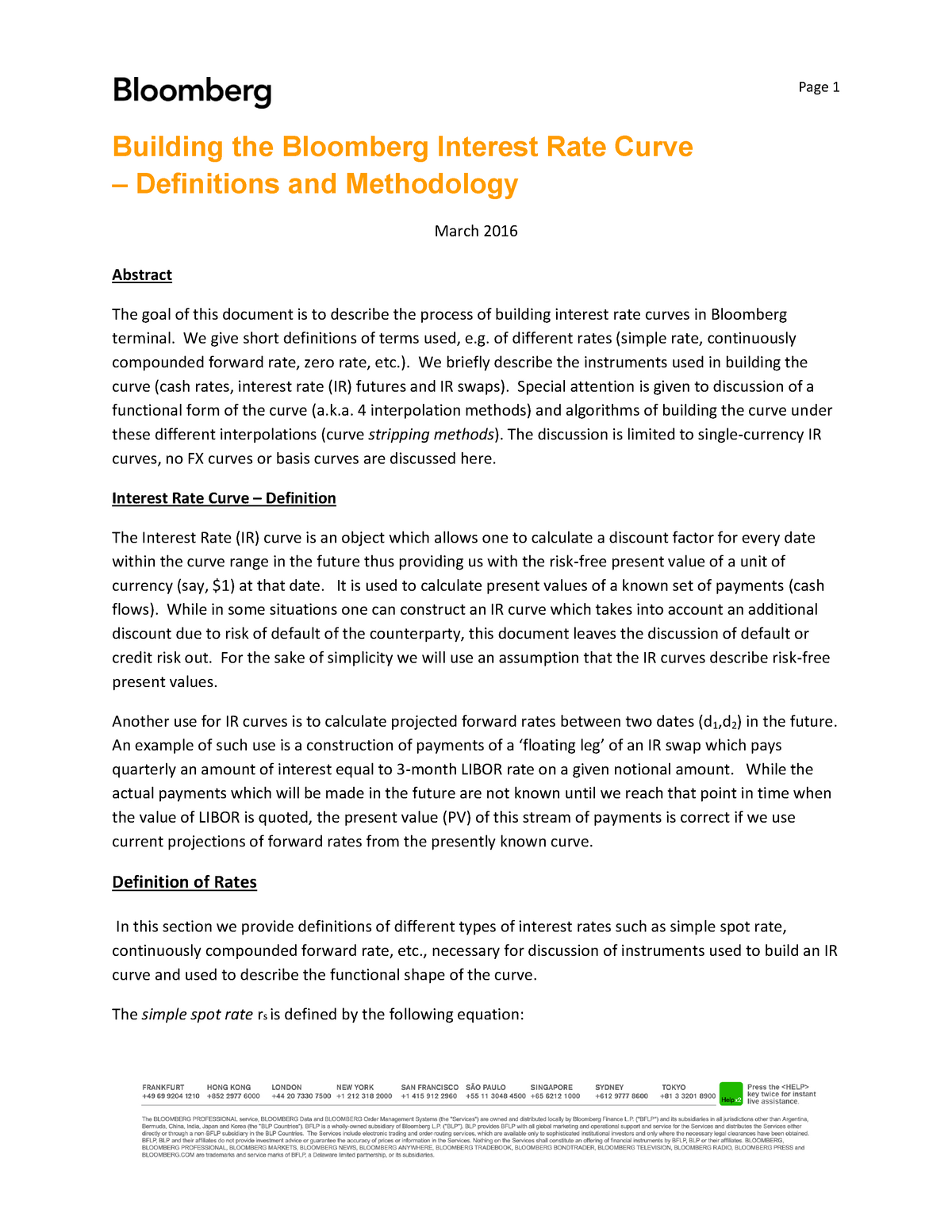 Bloomberg method - Behavioral Finance BA-BHAAV2389U - CBS
