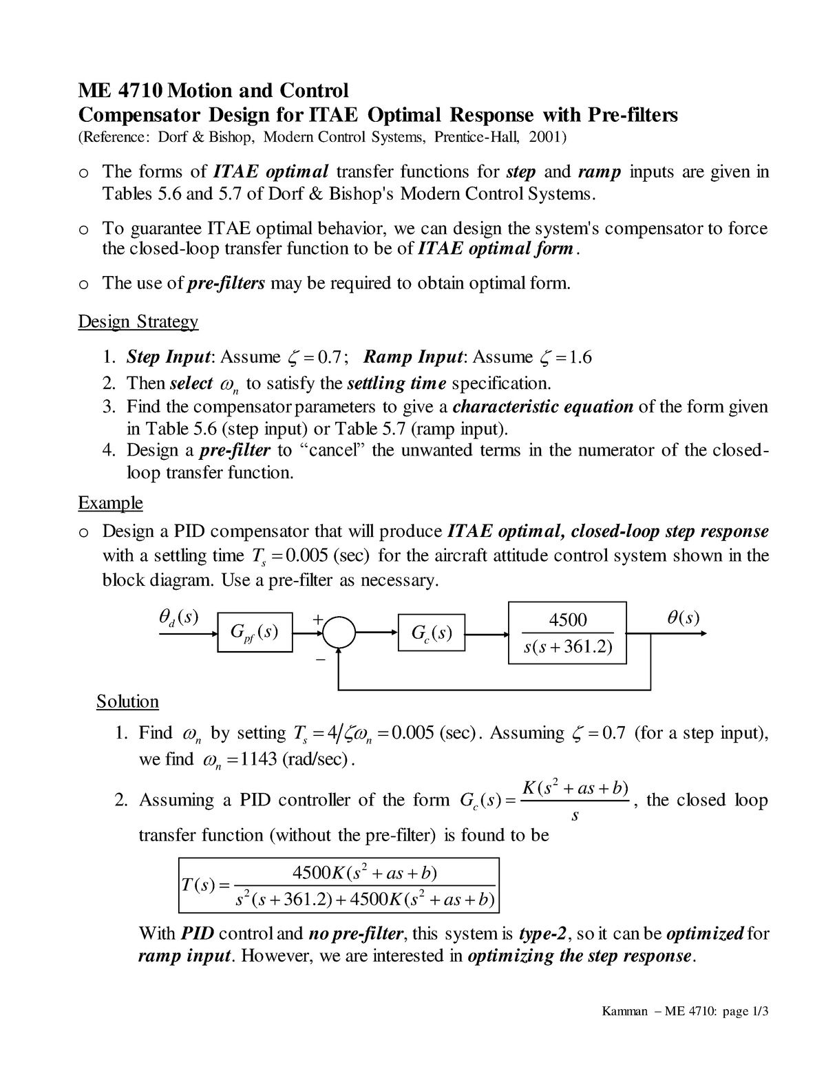 Lecture notes, lecture 1- Motion and Control - ME 4710 - ME