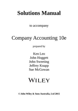 solution manual for company accounting 10th edition by ken j leo rh studocu com Desk Manual Manual Billing System
