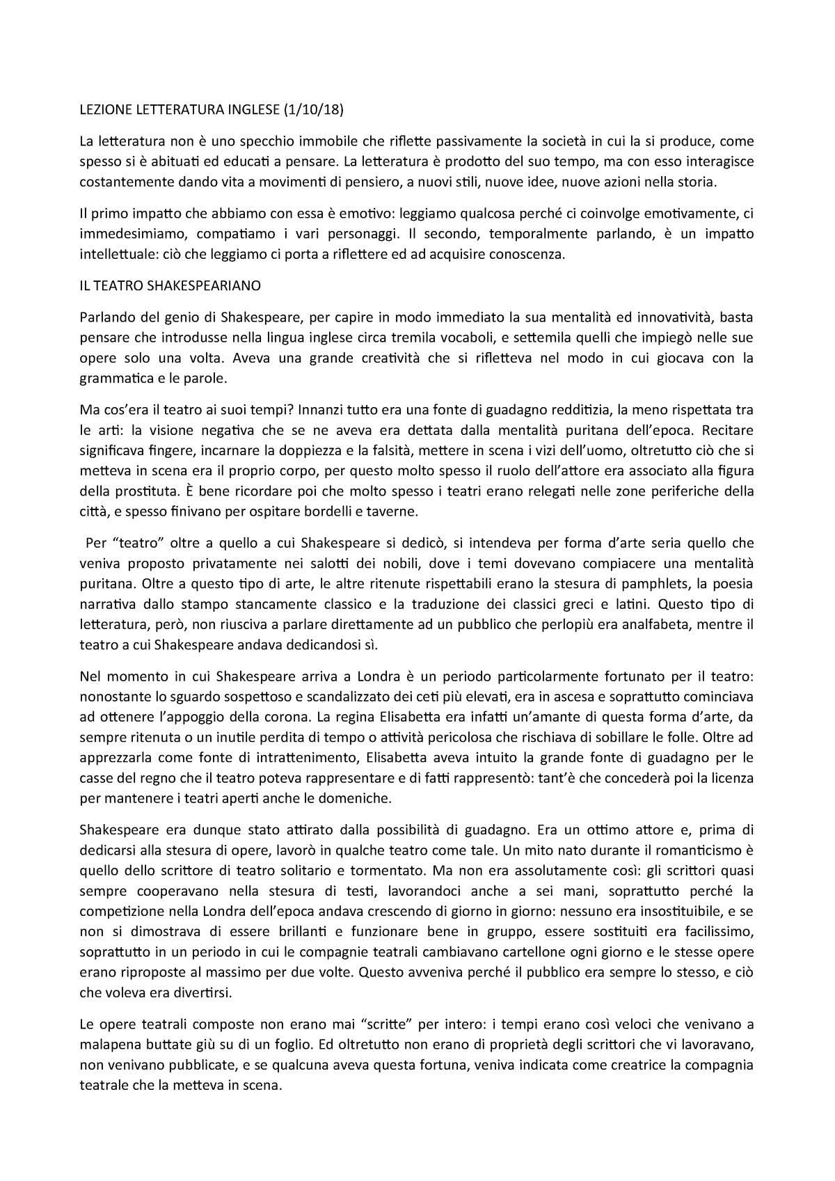 Letteratura inglese 1 ottobre 2018 - L-LIN/10: Letteratura e