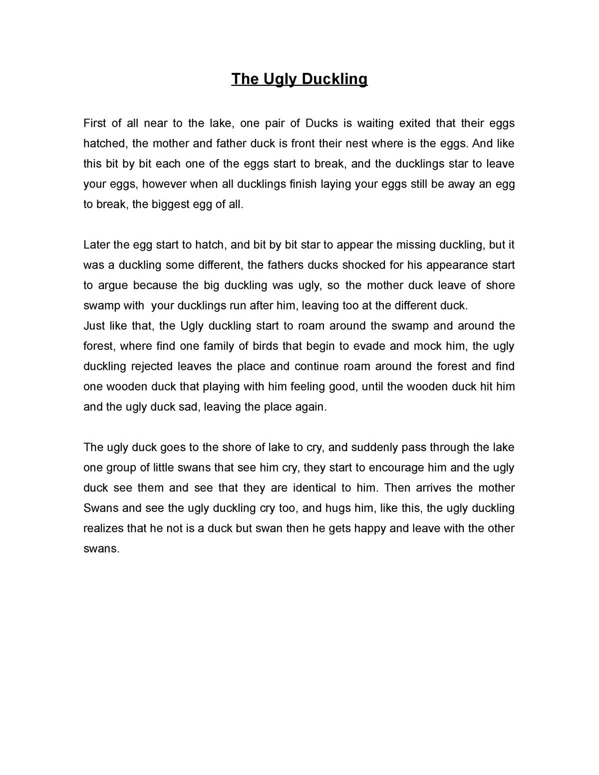 The Ugly Duckling - Resumen Cuento El Patito Feo en ingles de 150 palabras.  - StuDocu