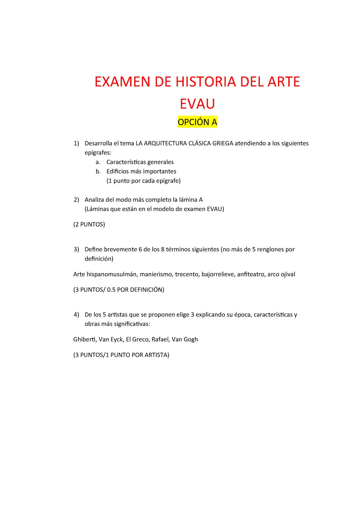 Examen De Evau S Historia Del Arte Studocu