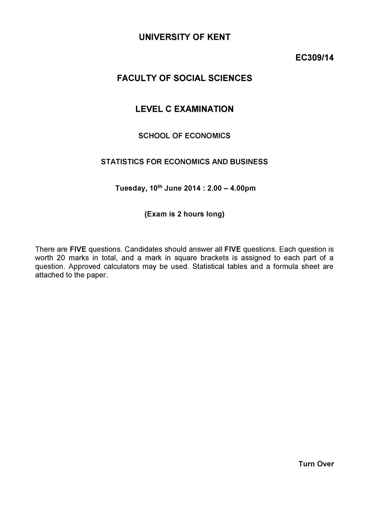 Exam 2014 - EC309: Statistics for Economics - StuDocu