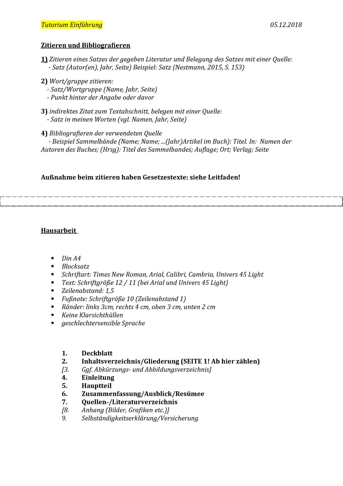 Zitieren Und Bibliografieren Hausarbeit Tu290100 Studocu