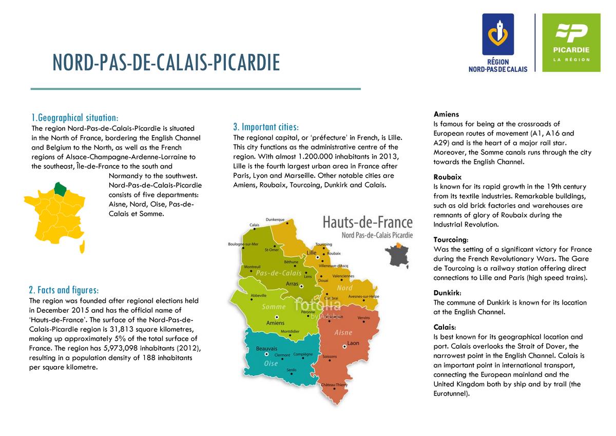Brochure Engels Nord Pas De Calais Picardie Studeersnel