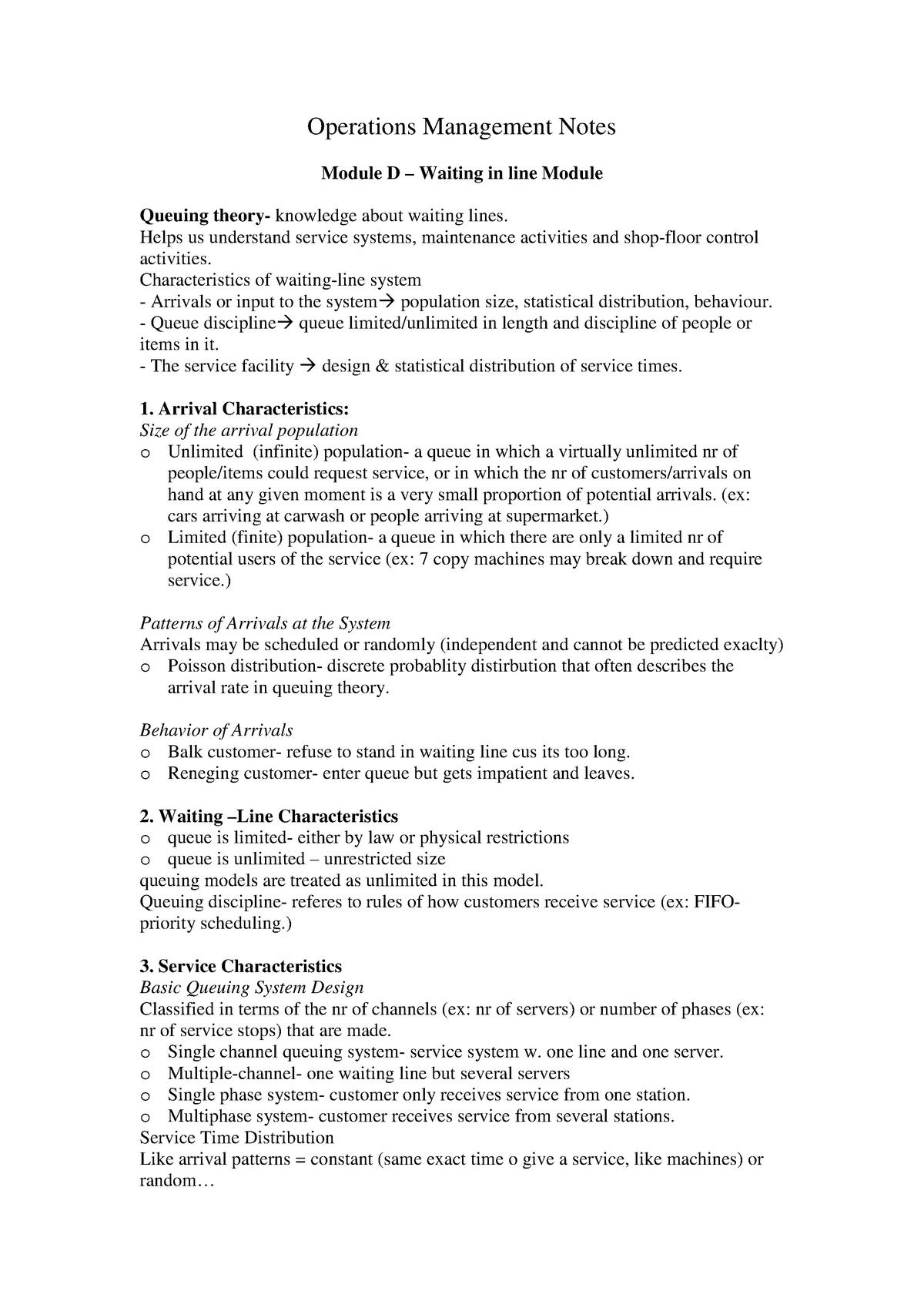 Lecture notes Operations Management - BAP057 - EUR - StuDocu