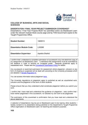 brunel dissertation deadline