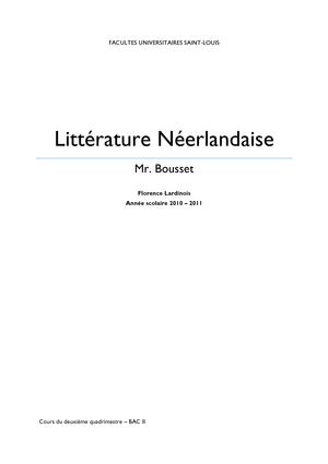 Résumé Cours Literatuur Nl Littrature Nerlandaise 3 Nederlands