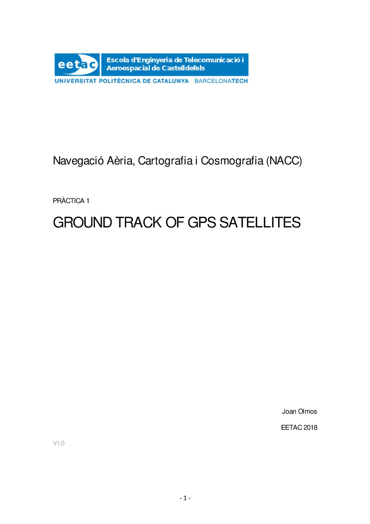 Practica 1 GPS groundtrack - Navegación, Cartografía y Cosmografía