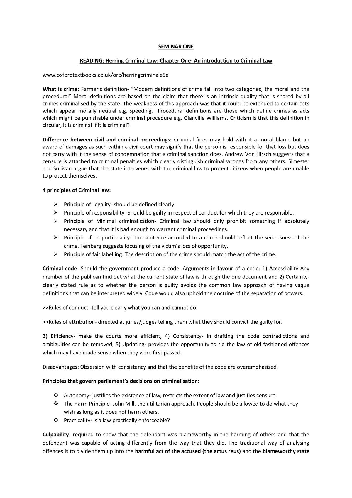 Revision Notes Criminal Law: - LAWS10032 - StuDocu