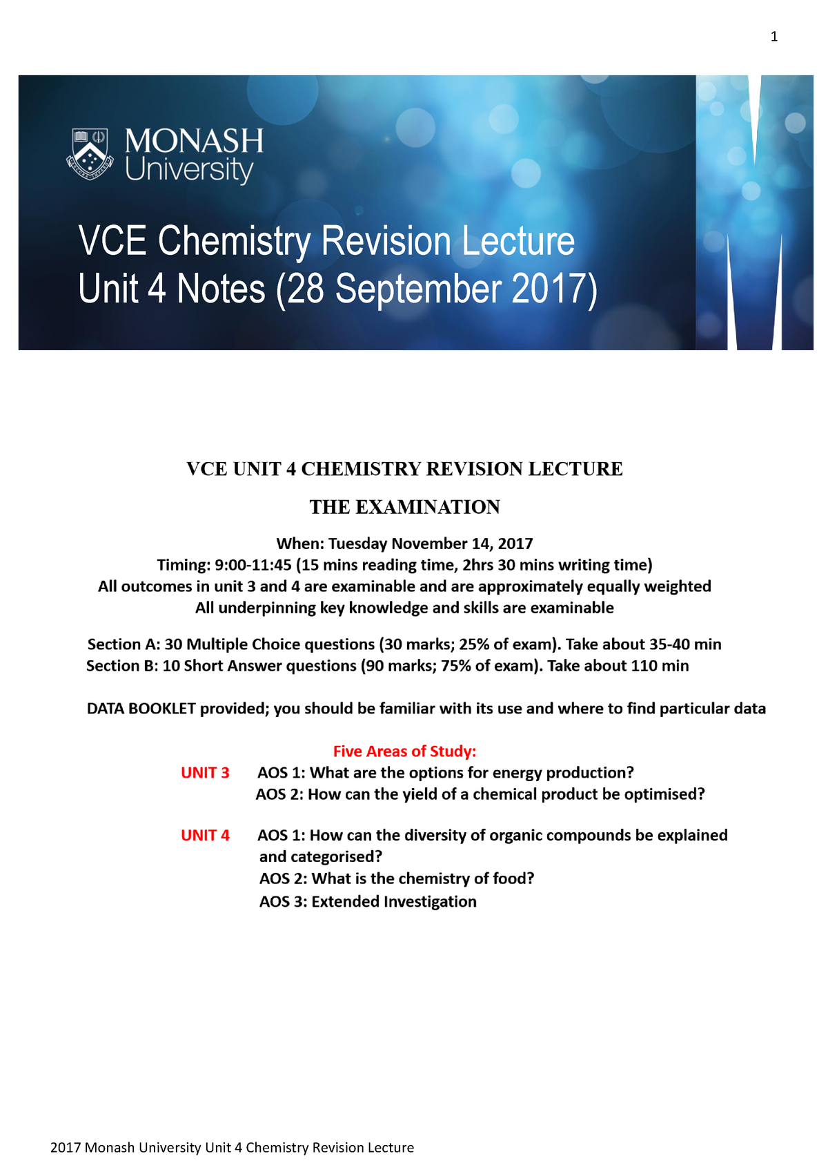 Monash Unit 4 Chemistry review 2017 - CHM1022 - StuDocu