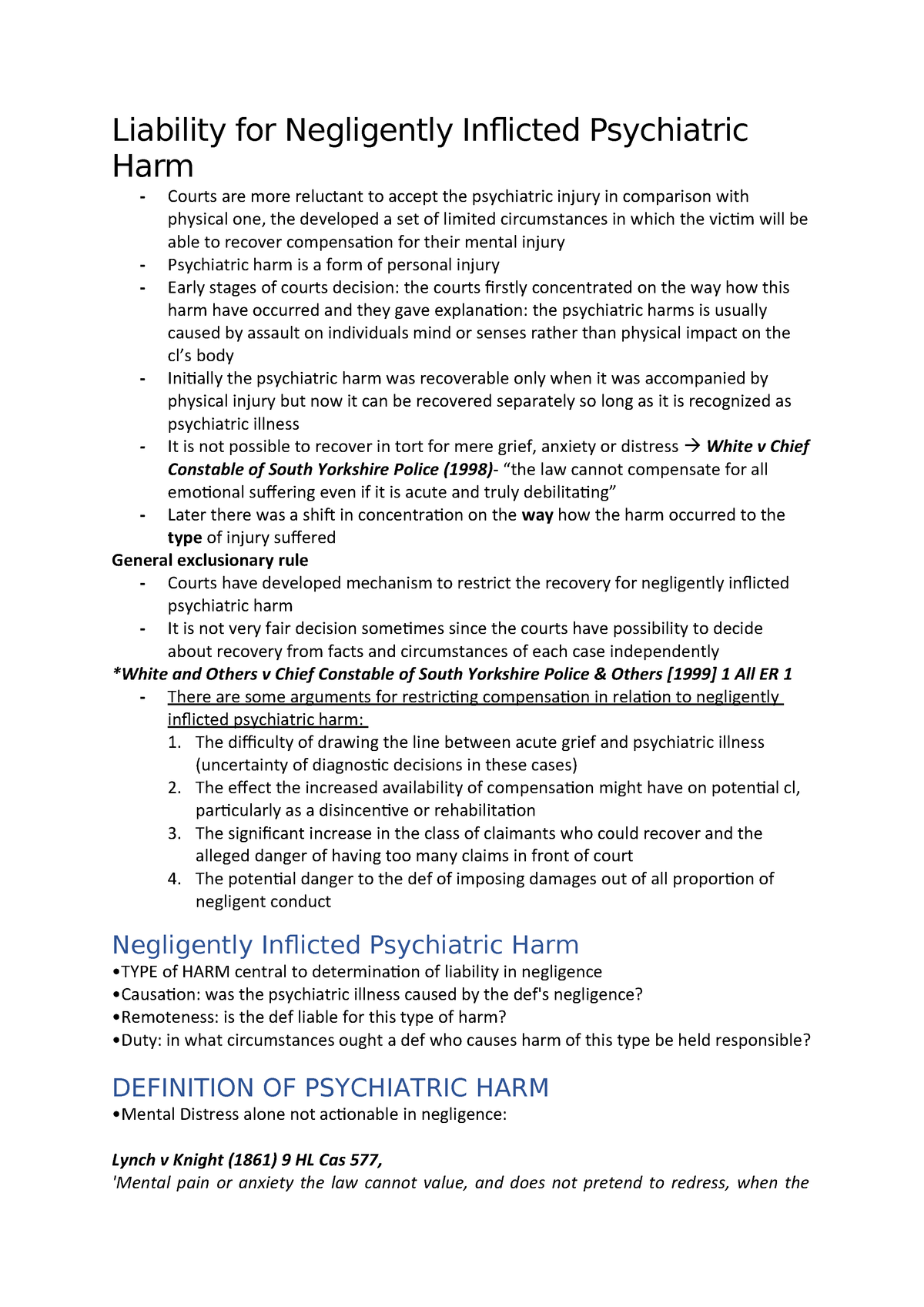 Liability for Negligently Inflicted Psychiatric Harm - M3026
