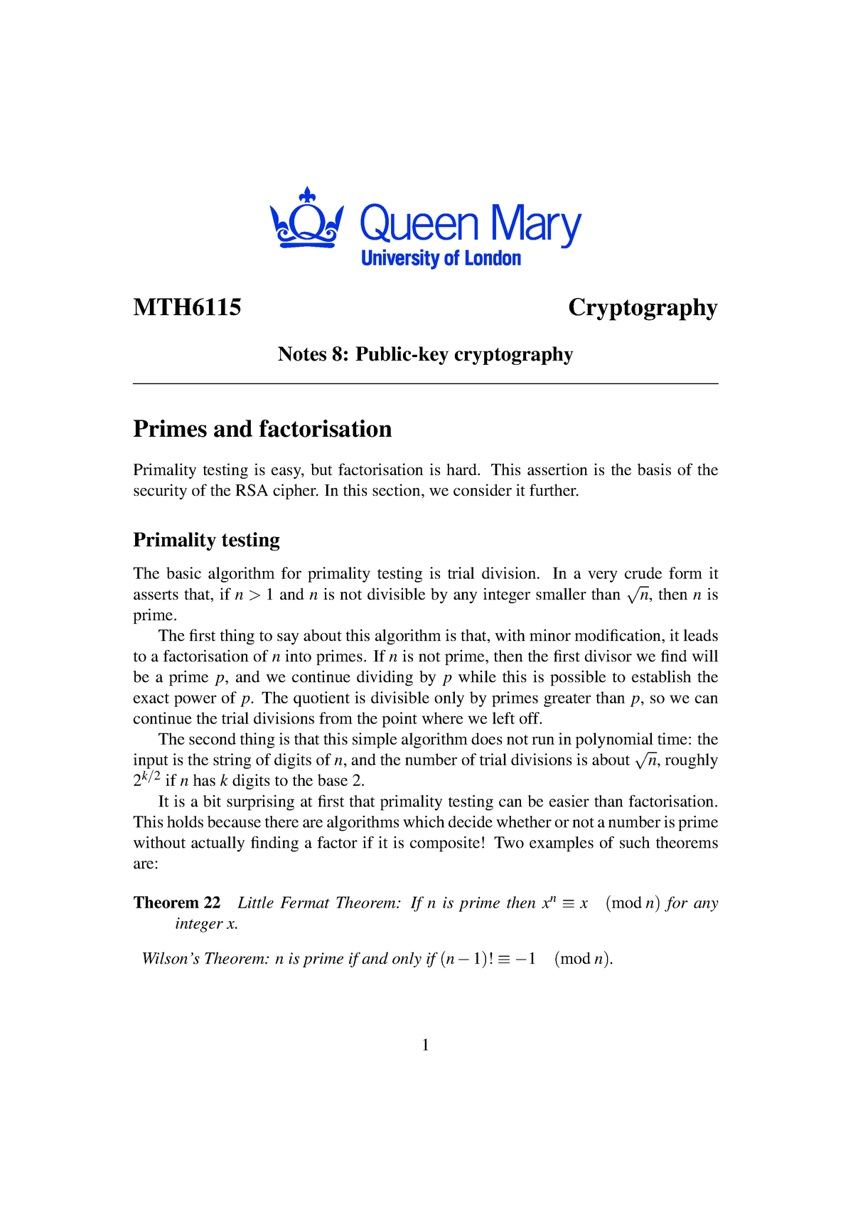 MTH6115 2012-2013 Lecture Notes 8 - MTH6115: Cryptography