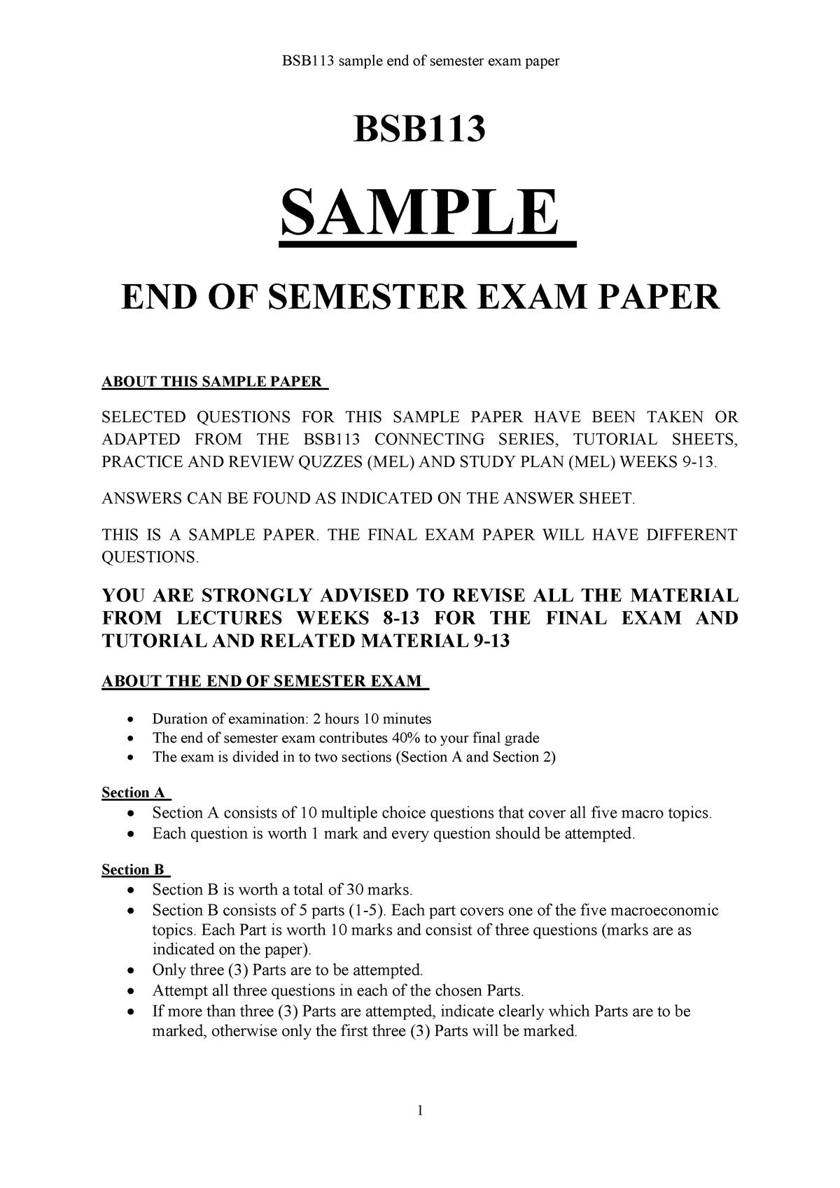 BSB113 Sample paper end of semester exam 2019 - Economics ...