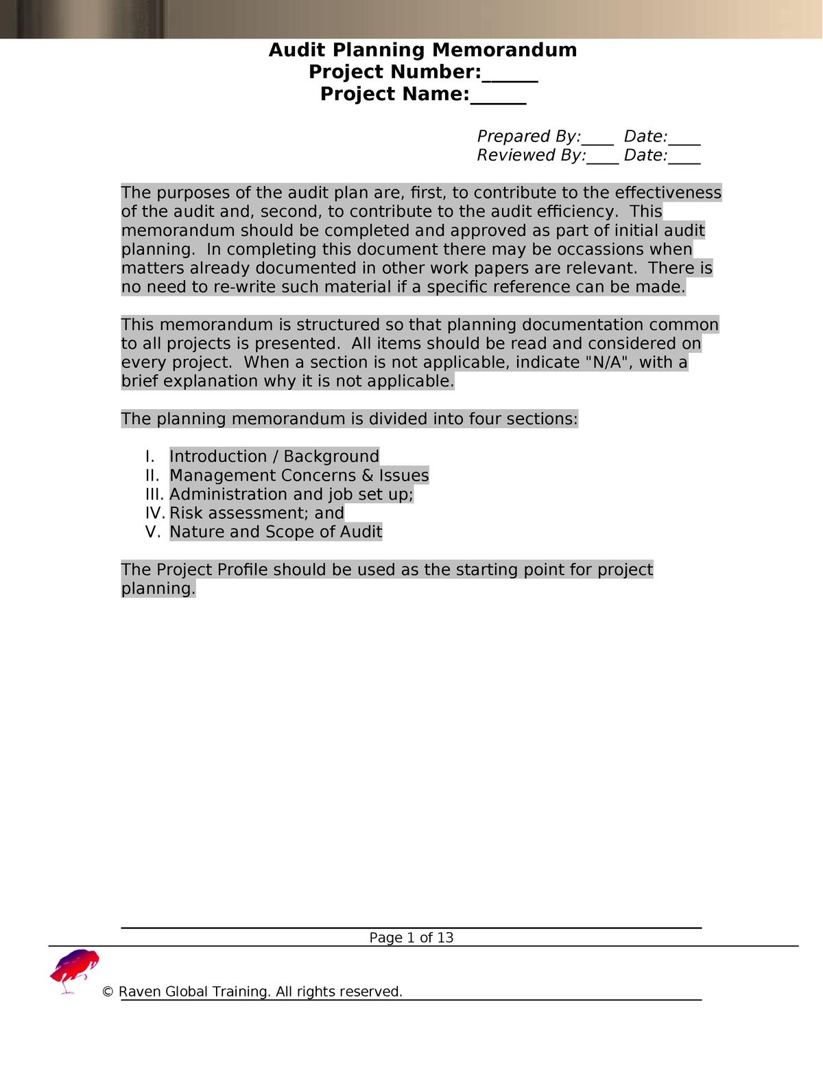 Sample Audit Planning Memo Template Free Download - - StuDocu