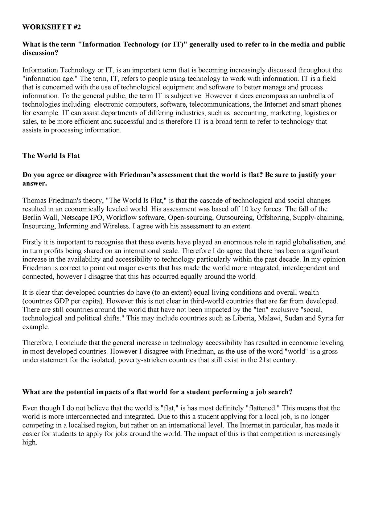 BIS Worksheet #2 - Notes - 10830 - StuDocu