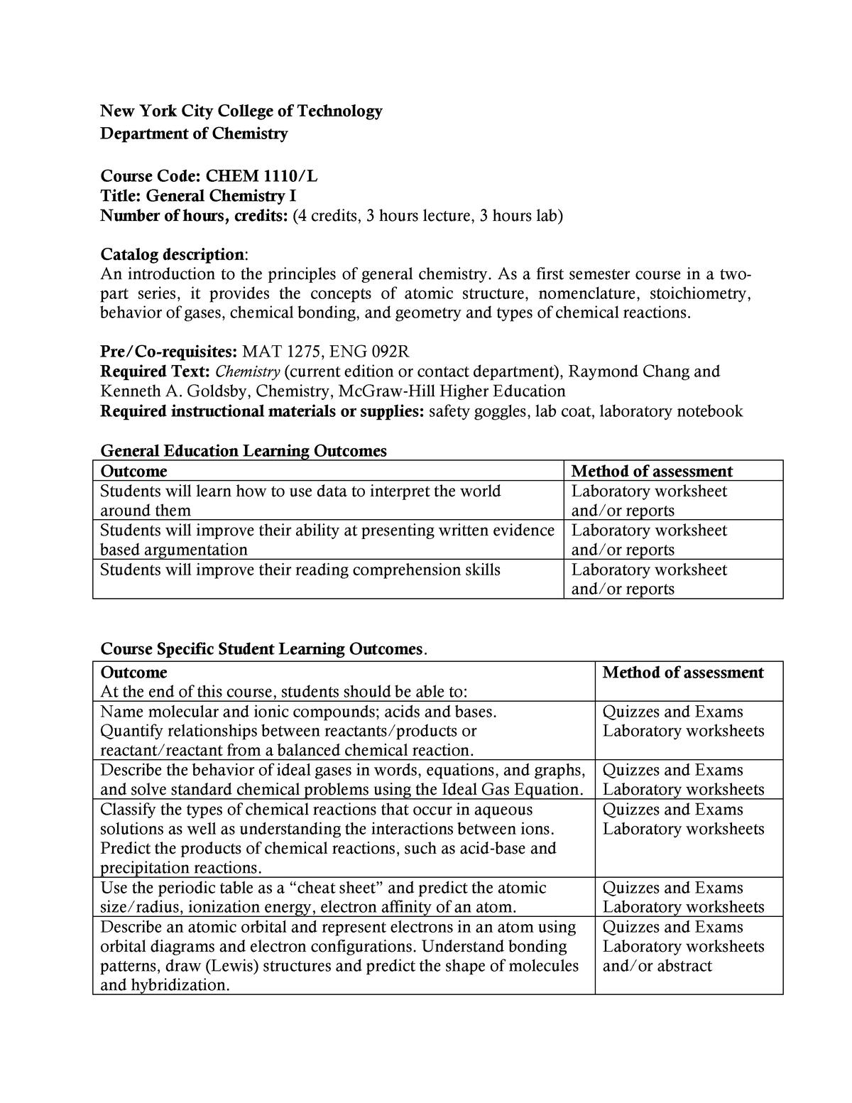 CHEM1110 - CHEM 1110 General Chemistry I - City Tech - StuDocu