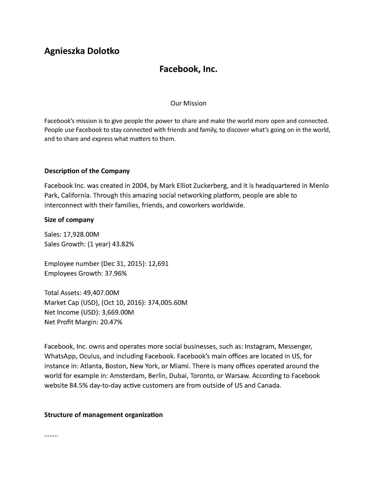 FSA 1 - Assignment 1 - FINA 36675: Financial Statement