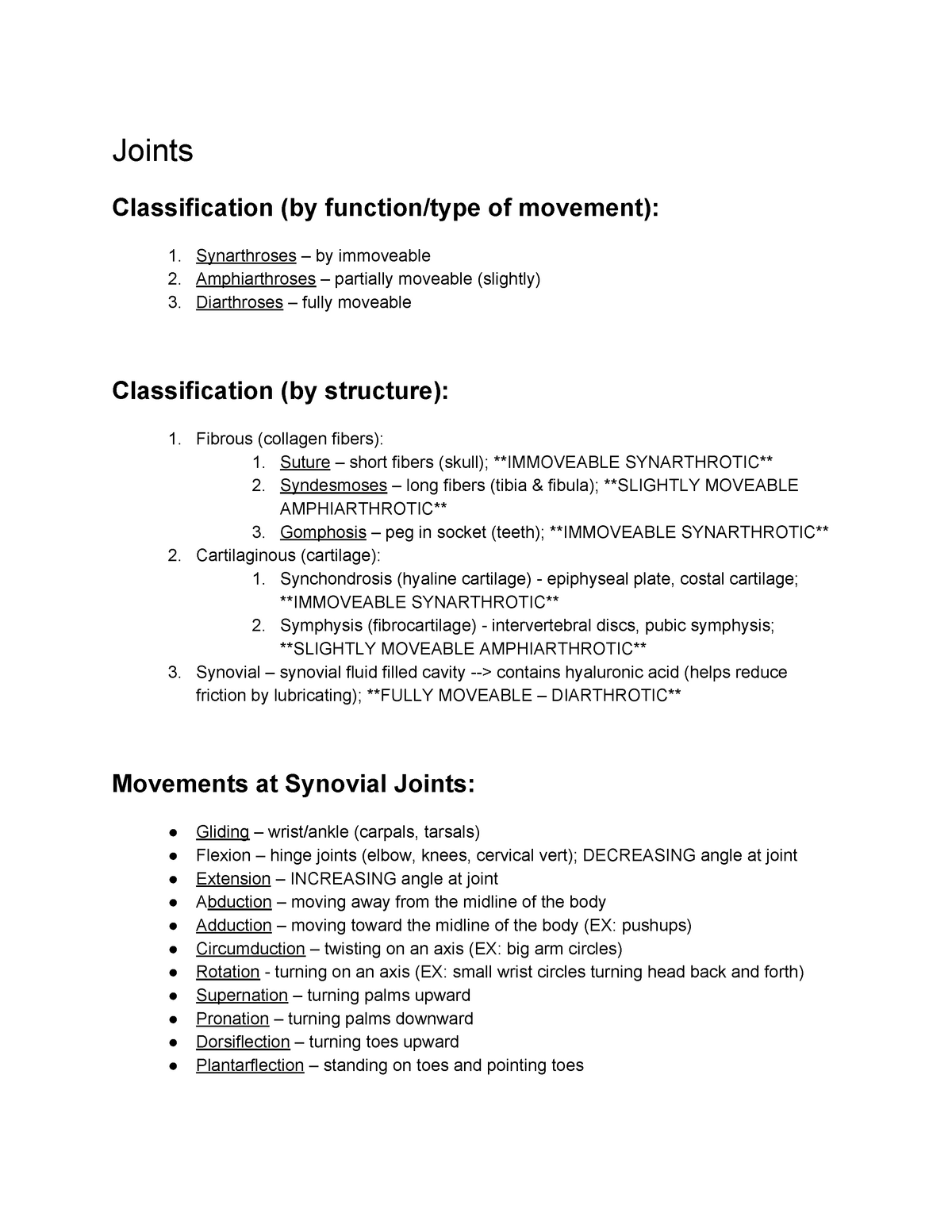 Joints Important Key Notes For Exams Joints Classification Of Movement Immoveable Partially Moveable Slightly Fully Moveable Classification Structure Fibrous Studocu Thus, a symphysis is functionally classified as an. studocu