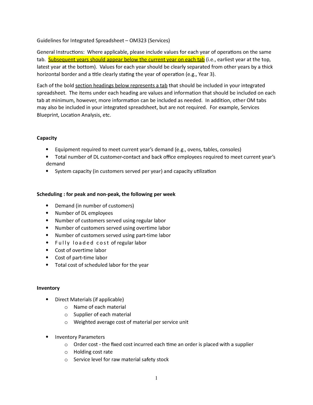 Guidelines for Integrated Workbook OM323 Services - StuDocu