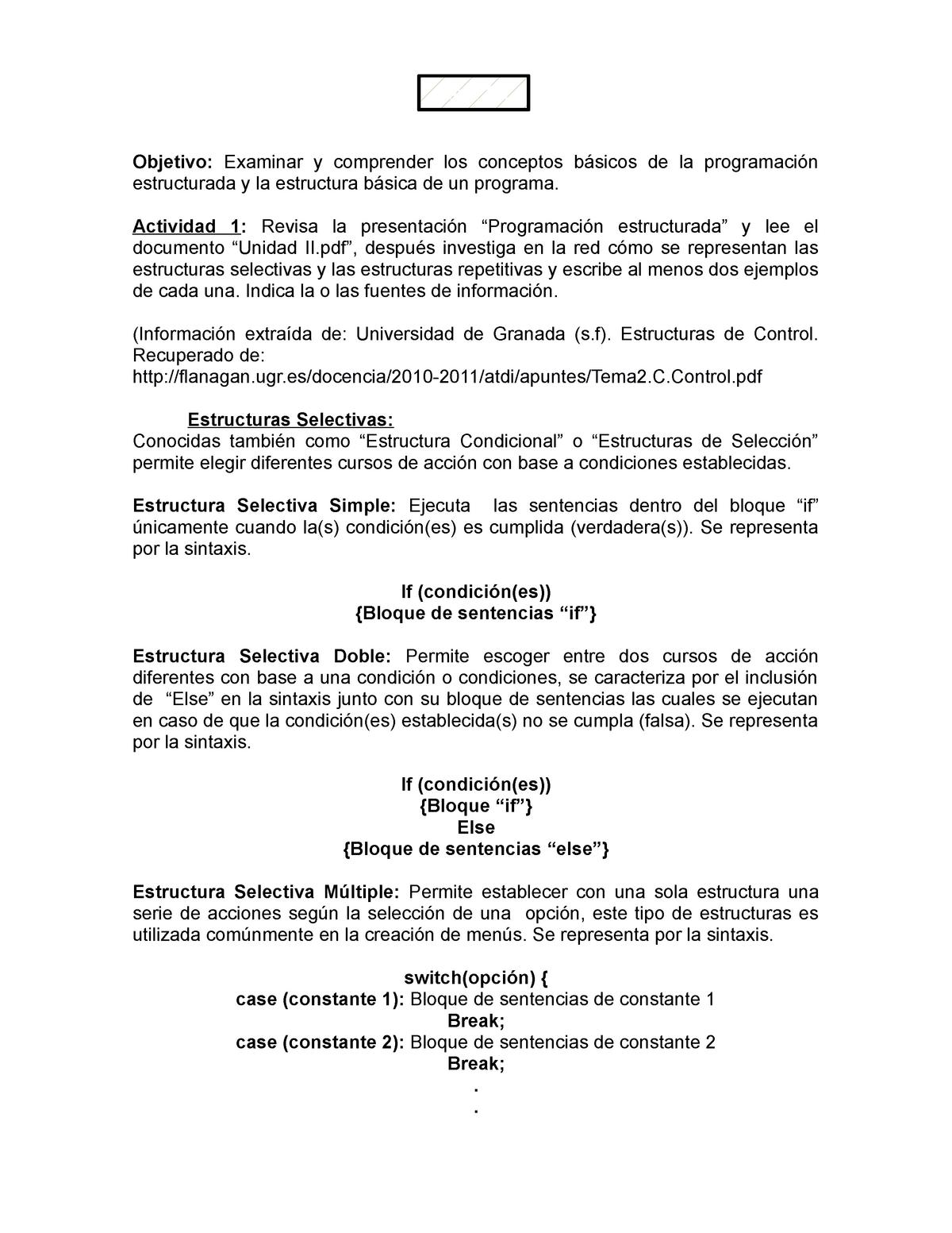 Estructuras Selectivas Y Repetitivas Programación 11214