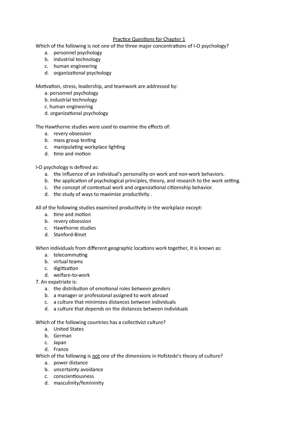 Oefenvragen van het boek - PSBA2-03: Arbeids-, Organisatie