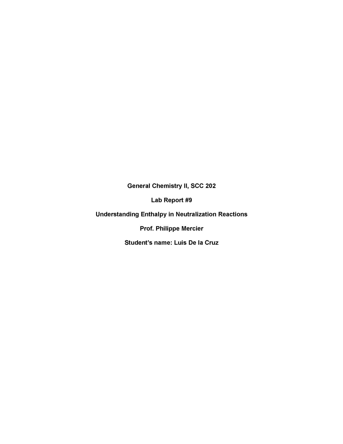 LAB Report #9 E- Portfolio - SCC 202: General Chemistry II